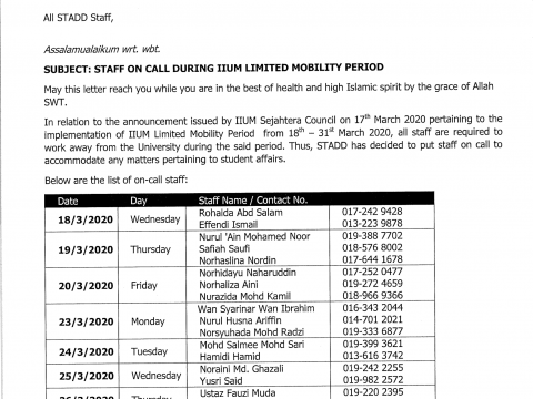 STAFF ON CALL DURING IIUM LIMITEDMOBILITY PERIOD AT STUDENT AFFAIRS & DEVELOPMENT DIVISION
