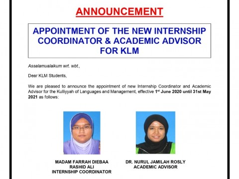 Appointment of the new Internship Coordinator & Academic Advisor for KLM