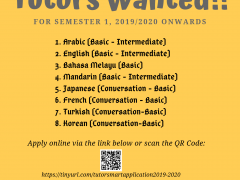 SMART Pagoh : Tutors wanted for semester 1, 2019/2020