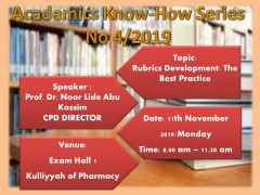 "Academics Know-How Series No 4/2019: Workshop on ""Rubrics Development: The Best Practice"""