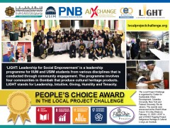 "CONGRATULATIONS!  ""LIGHT: Leadership for Social Empowerment"" has won the 'People's Choice Award' for the Local Project Challenge"