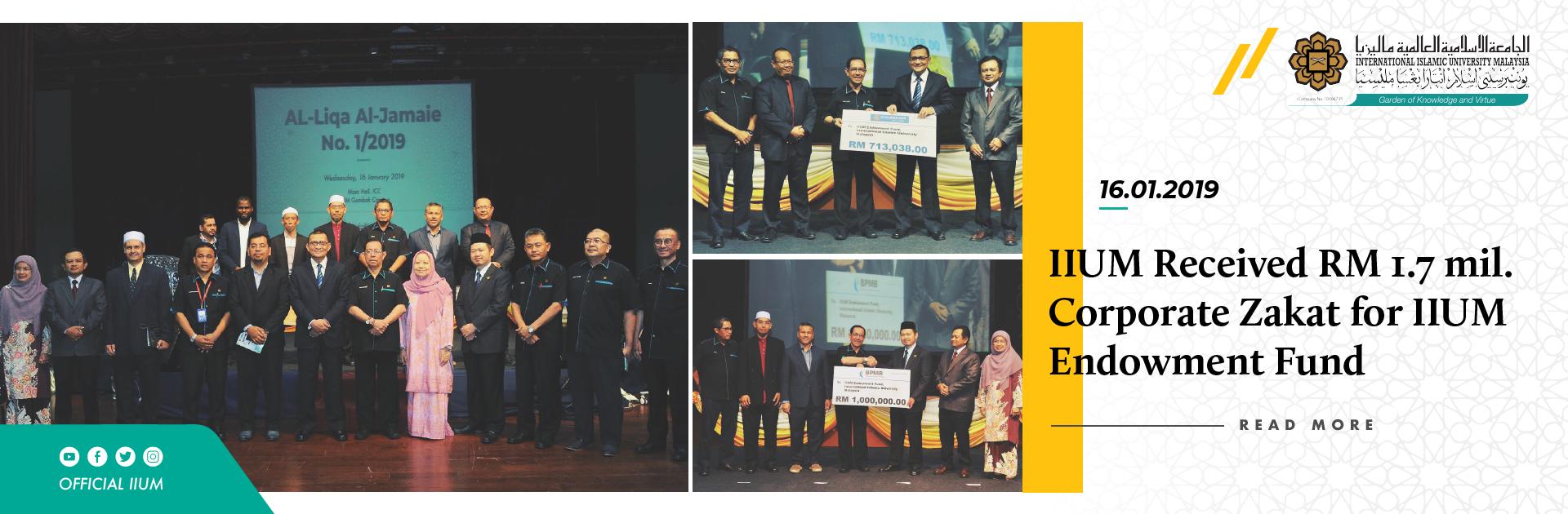 IIUM Received 1.7mil Corporate Zakat for IIUM Endowment Fund