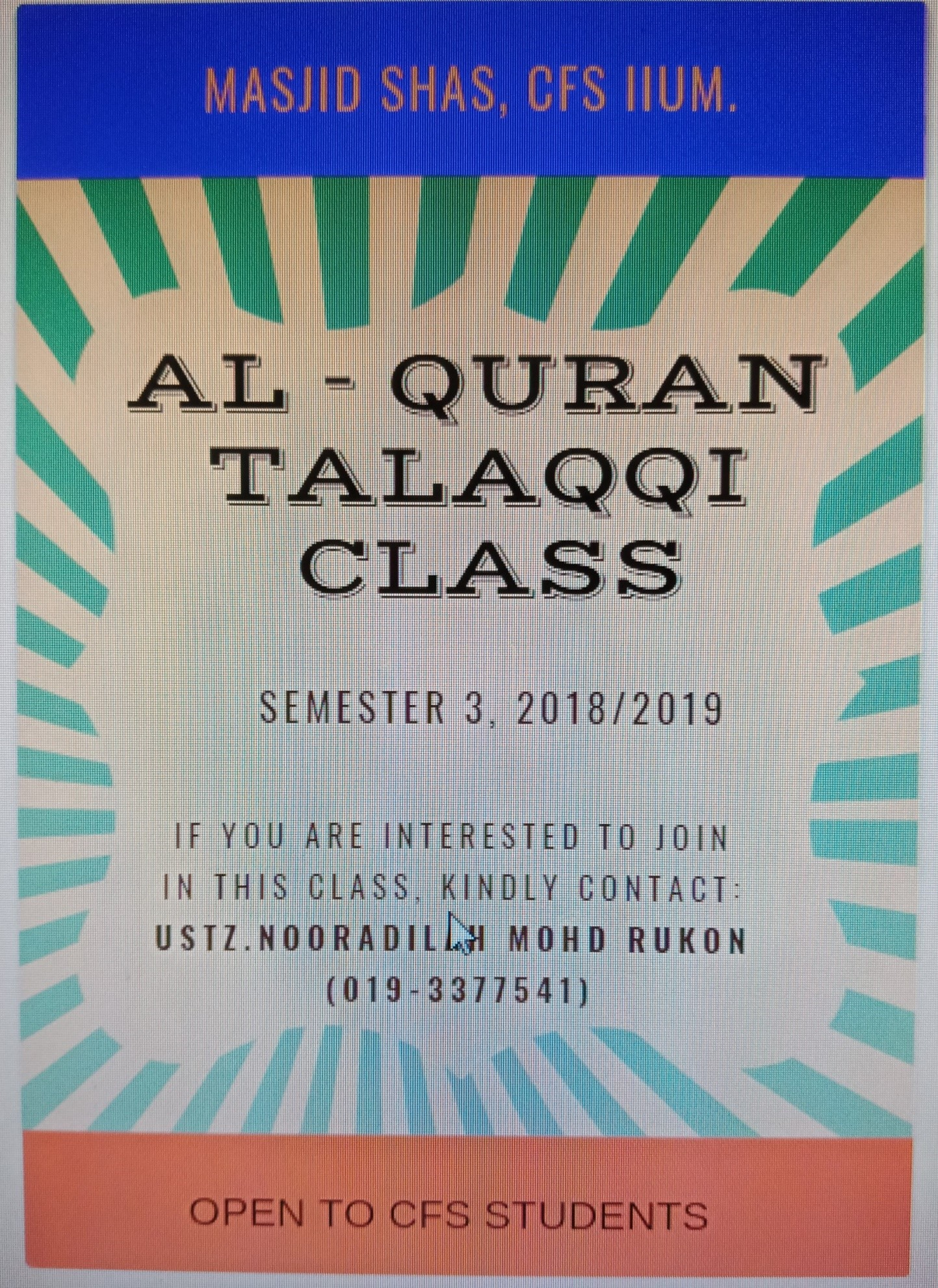 TALAQQI CLASS FOR CFS STUDENTS SEMESTER 3, 2018/2019