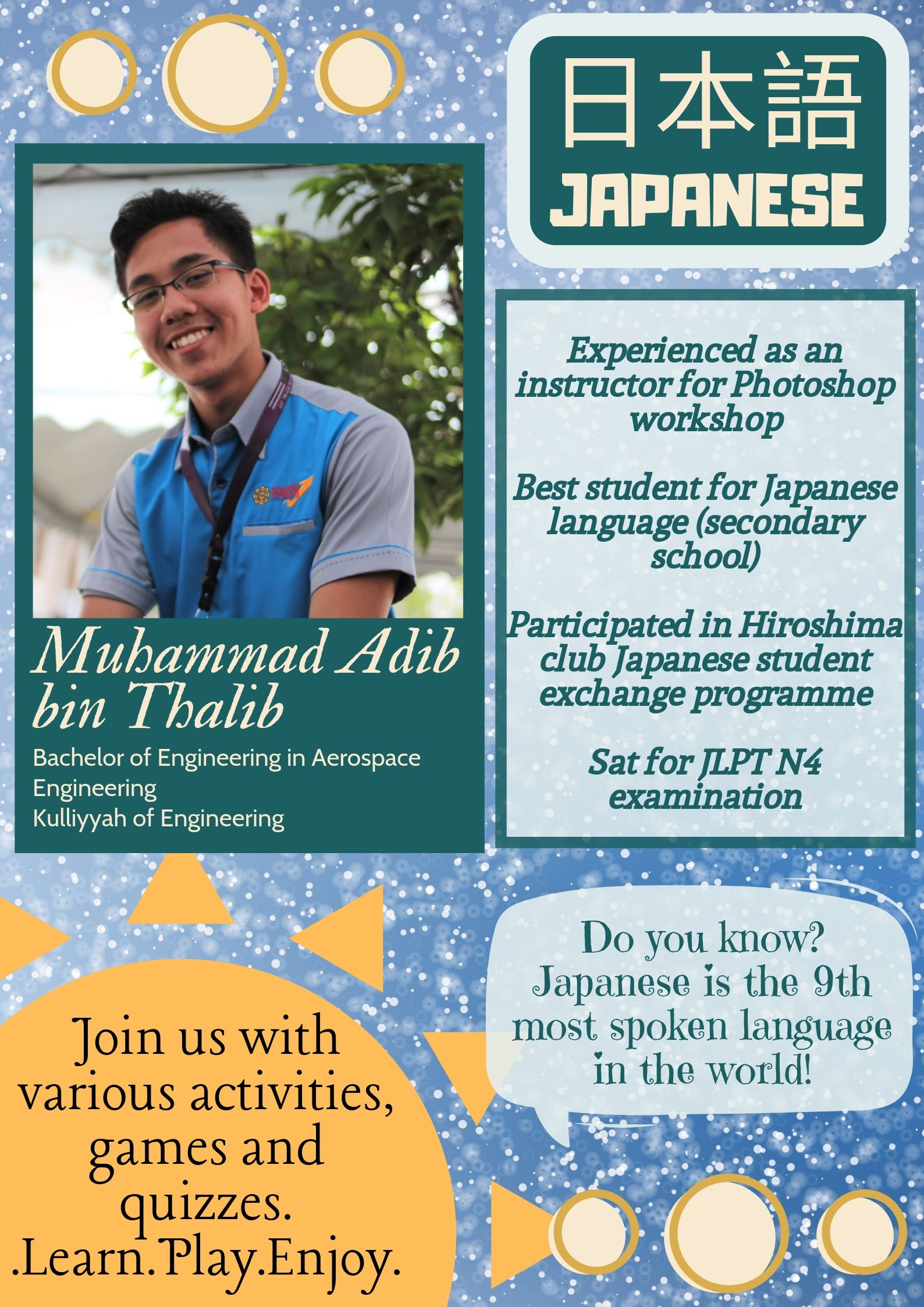 TUTOR PROFILE SEM 3, 2018/2019 : JAPANESE
