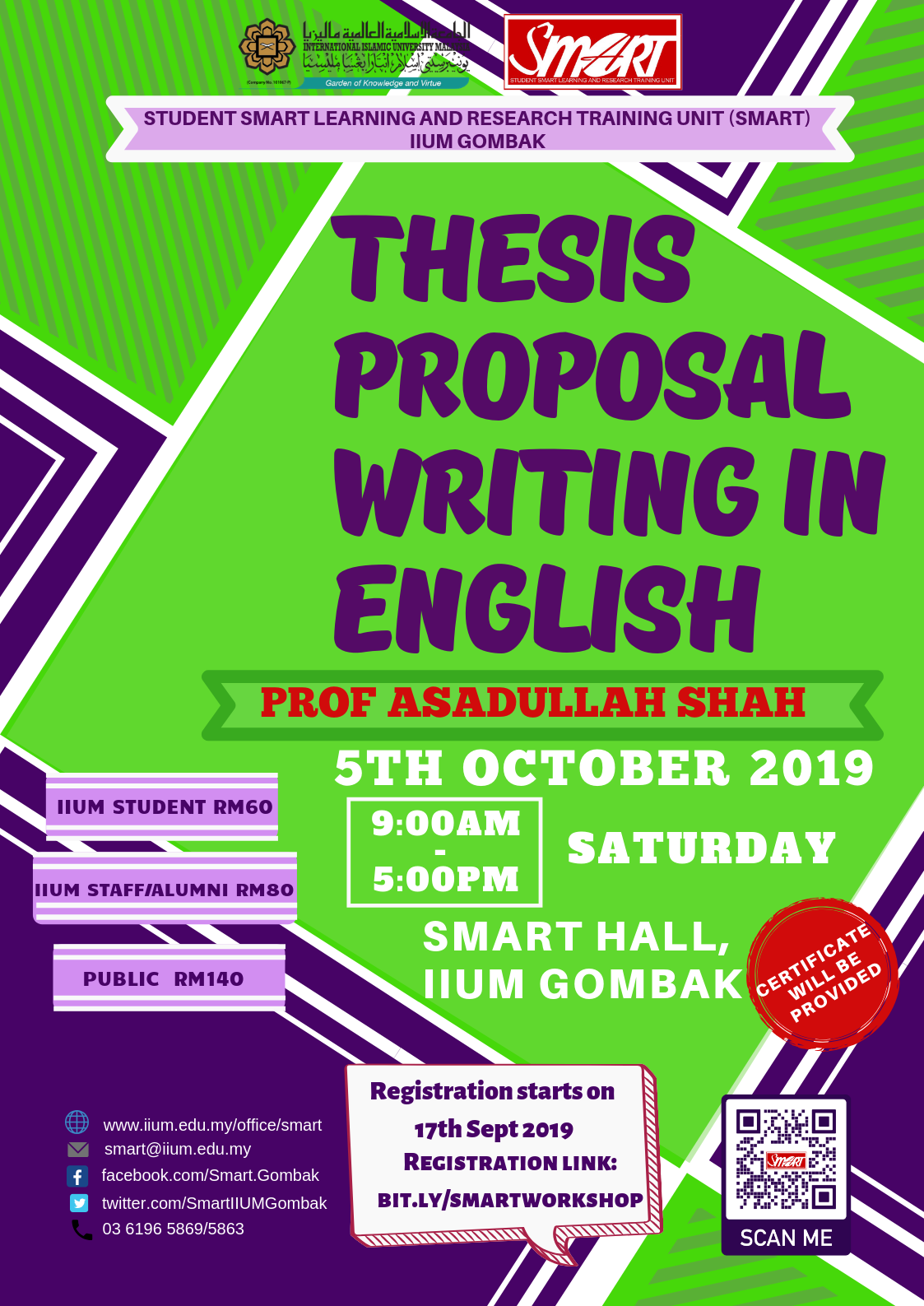 SEM 1, 19/20 - WORKSHOP - THESIS PROPOSAL WRITING IN ENGLISH