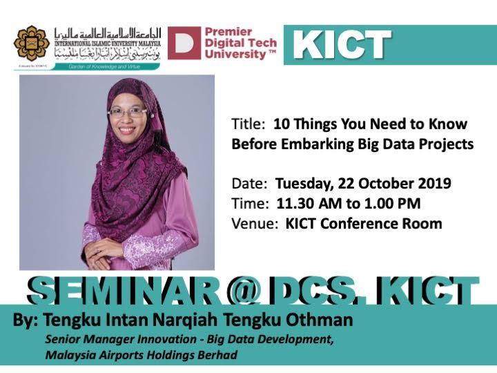 Seminar @ DCS: 10 Things You Need to Know Before Embarking Big Data Projects.
