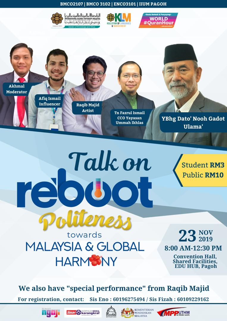 Talk on reboot politeness towards Malaysia & global harmony