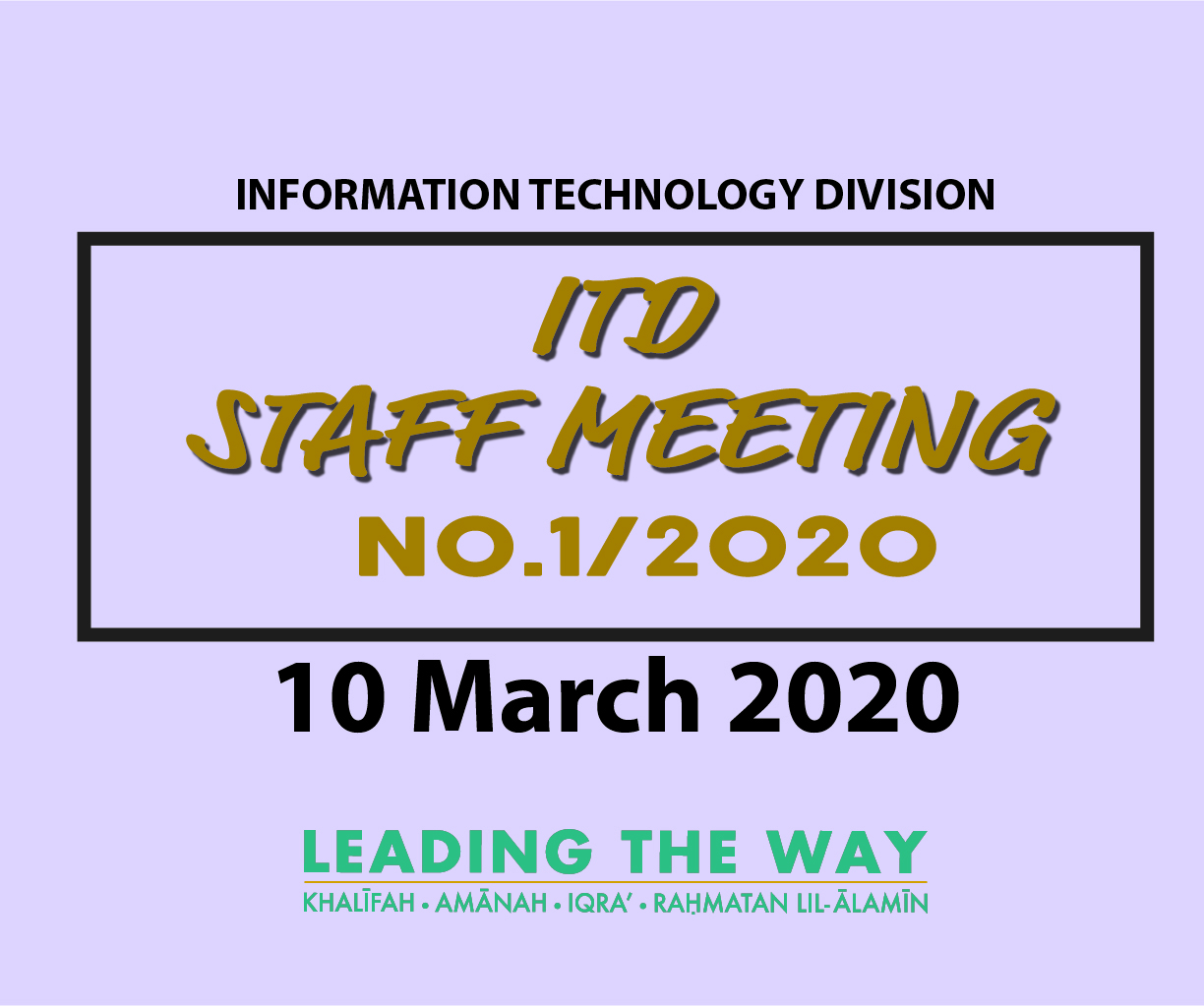 ITD Staff Meeting No.1/2020
