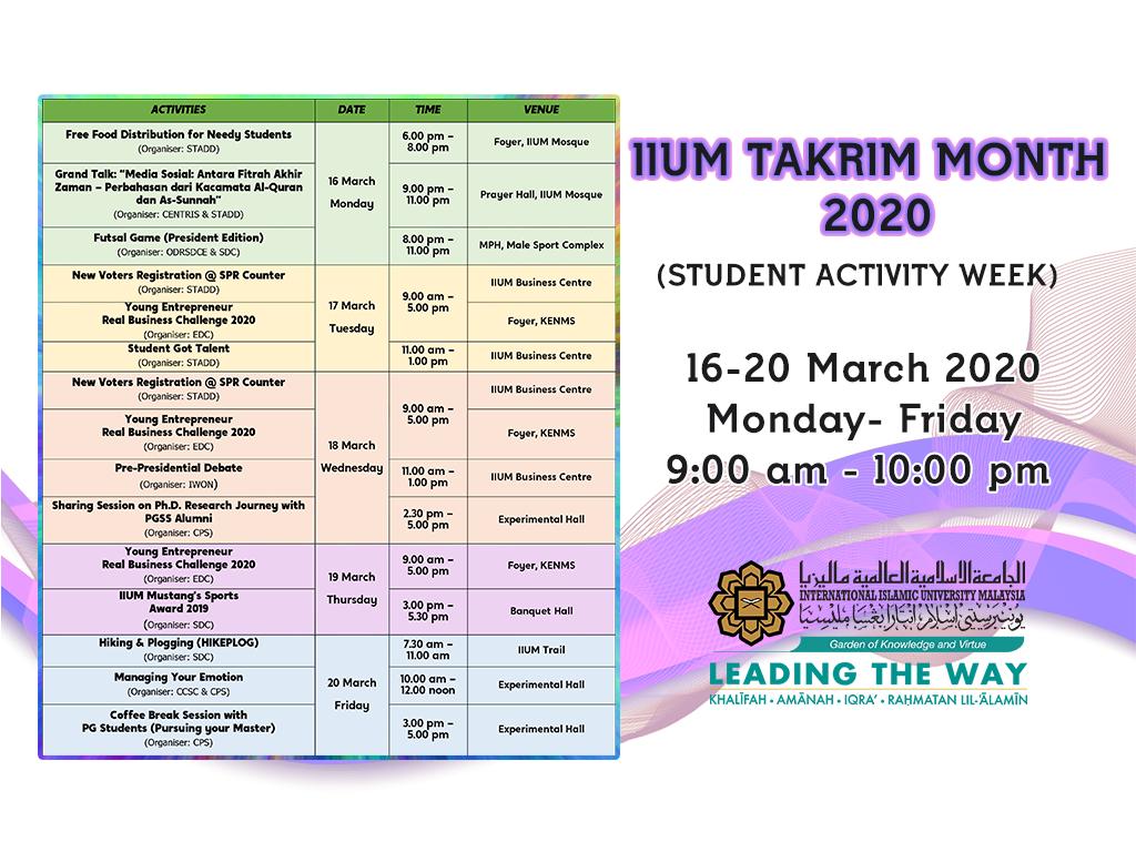 IIUM TAKRIM MONTH 2020 (STUDENT ACTIVITY WEEK)