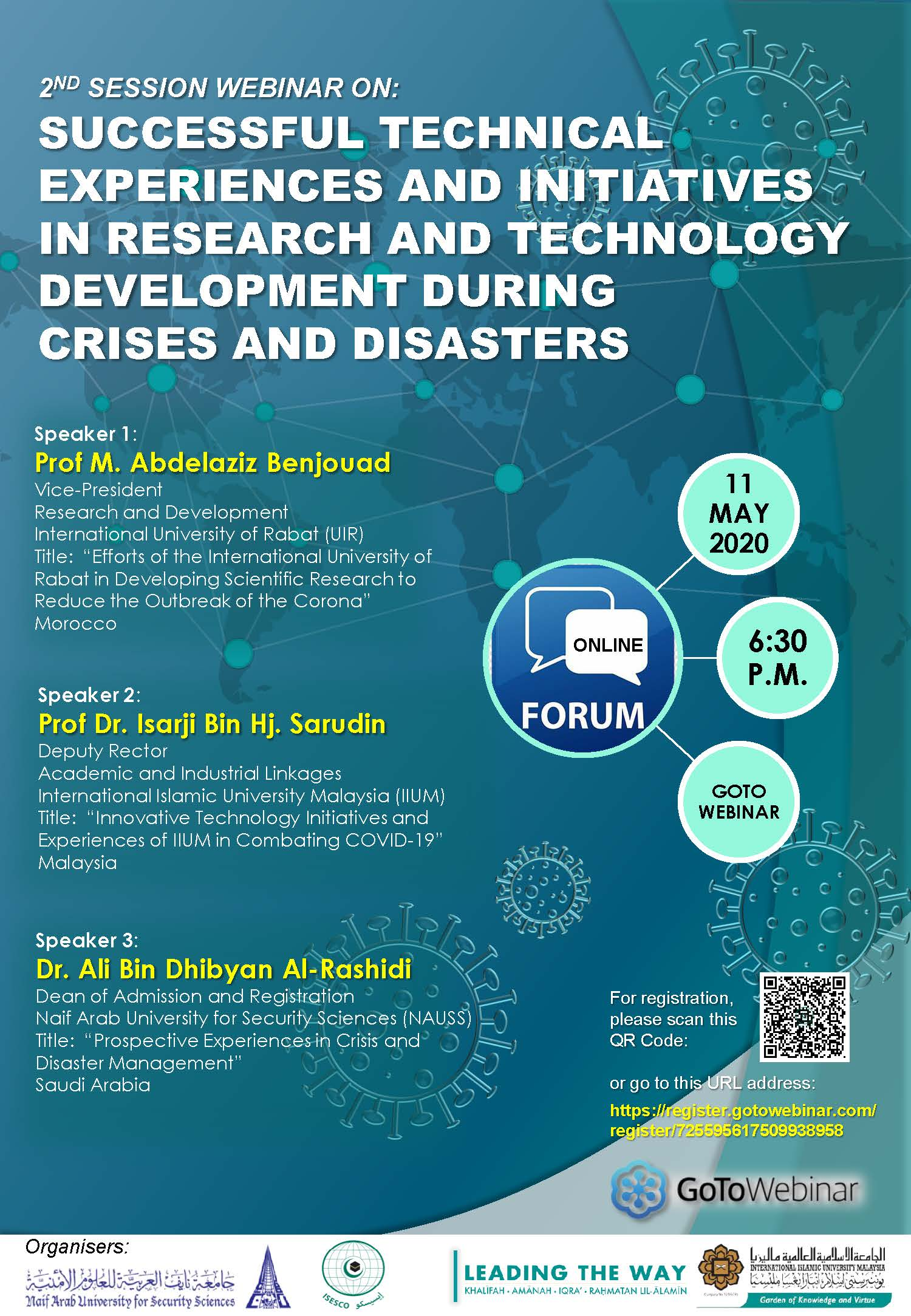 2ND SESSION WEBINAR ON: SUCCESSFUL TECHNICAL EXPERIENCES AND INITIATIVES IN RESEARCH AND TECHNOLOGY DEVELOPMENT DURING CRISES AND DISASTER